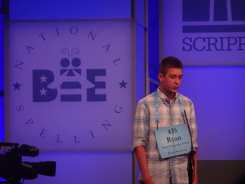 photo of Thorp student competing at spelling bee