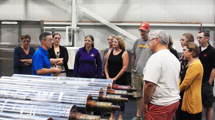 photo of teachers touring manufacturing plant